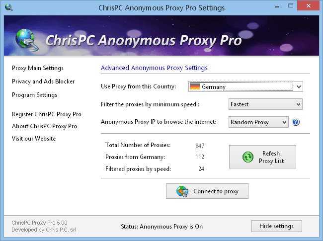 ChrisPC Anonymous Proxy 8.15 Free